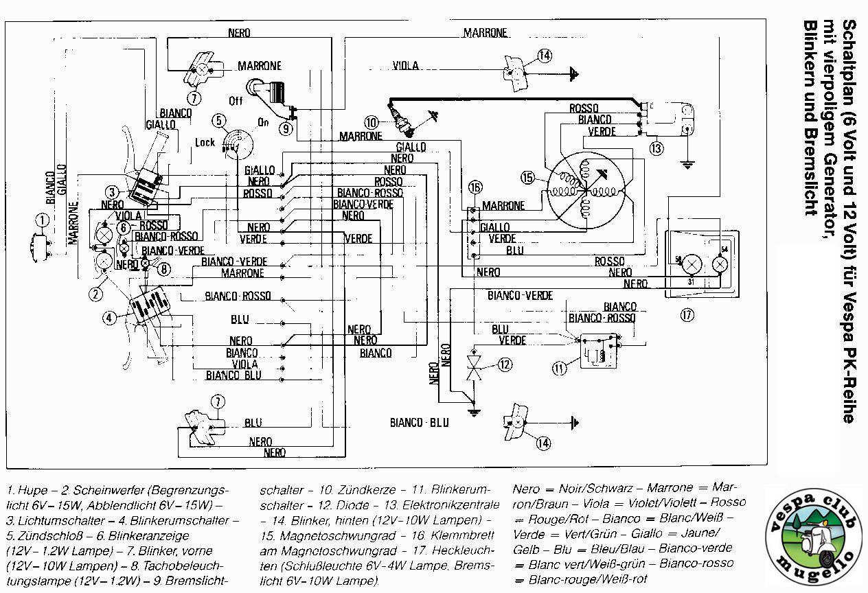 Schema Elettrico Vespa Pk 50 S : Schemi elettrici vespa